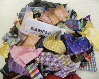 "100% SILK SCRAPS from high end necktie factory smallest 2""x 2"" one pound random flat rate envelope"