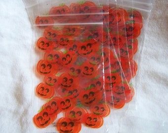 "Halloween candy treat bags set of 10 pumpkins 3.75""x6.5"" ziploc clear 