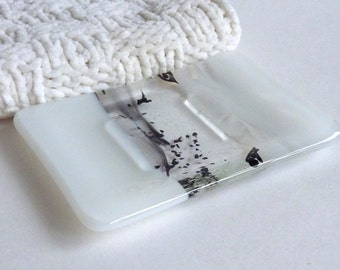 Fused Glass Soap Dish in White