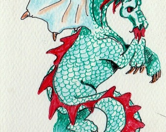 ACEO Dragon print Art Cards Editions or Originals red and blue water color pencil