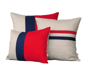 Poppy Red Pillow Cover Set - Color Block and Striped Pillows by JillianReneDecor (Set of 3) - Colorblock Pillow Trio