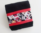 Band Instruments Hand Towel / Black, Red, Brown, Orange & White Music Towel with Drums, Guitars, Horns / Red Ribbon Trim / Gift Under 20