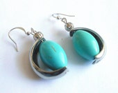 Turquoise earrings, Silver and turquoise unique drop earrings, boho jewelry