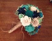 Teal, Aqua and mint Wedding Bouquet made with sola flowers - Customize colors - bridal bouquet - Alternative bouquet - bridesmaids bouquet