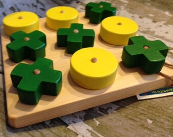 Toy Wooden Green and Yellow Tic-Tac-Toe Game - Handcrafted Tic Tac Toe Game with Green & Yellow Hugs and Kisses