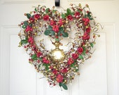 Red Heart Wreath - Valentines Day - large heart wreath - high quality red paper roses