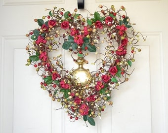 Red Heart Wreath for Valentines Day - paper red roses