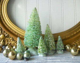 5 bottle brush trees aqua green Vintage Style Frosted Glittered Mica Christmas Decor Cottage Chic