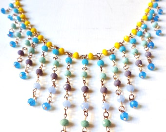 Handmade Cascading Beaded Yellow Turquoise Green Violet Lilac and Blue Necklace