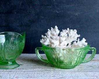 Vintage Vaseiine Glass Creamer and Sugar Bowl