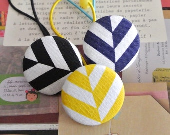 Button Ponytail Holders, Geometric Chevron Stripes Yellow Black Blue Ponytail Holder, Big Ponytail Holder, Big Girl Hair Ties