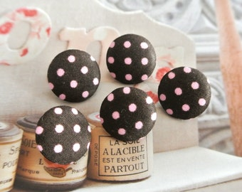 Fabric Buttons, Retro Brown Light Pink Polka Dots Fabric Covered Buttons, Retro Polka Dots Fridge Magnets, Flat Back, CHOOSE SIZE 5's