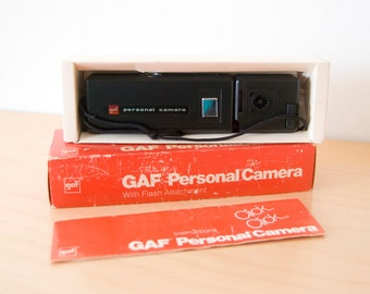Vintage GAF Personal Camera Handheld Point and Shoot with Flash Attachment