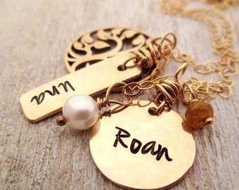 Gold Family Necklace -  Family Tree - Naturalist - Gold Mother's Necklace -