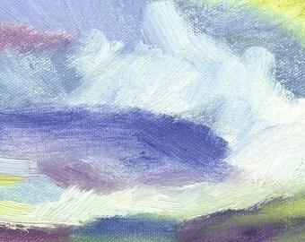 tiny landscape oil painting expressive 5x5 Purple Cloud