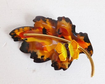 black friday sale vintage germany fall leaf brooch or pin with butterfly enamel in fall or. Black Bedroom Furniture Sets. Home Design Ideas