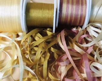 20 yards, gold silk ribbon 5 yards each color