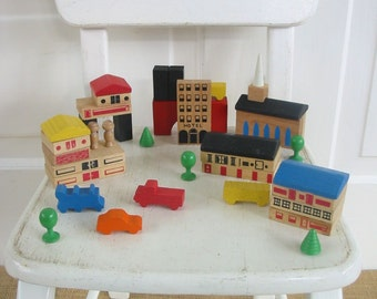 Vintage Wood Blocks, Building Blocks, Playskool Toy, House Blocks, Vintage Wood Toy