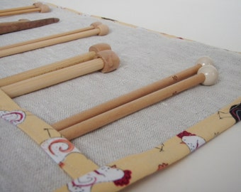 Linen Knitting Needle Roll/Knitting Needle Case with Fun Chicken Trim/Gift for Knitter