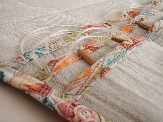 Circular Knitting Needle Case Linen with Travel Themed