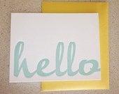 hello script letterpress card