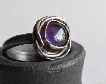 Bird's Nest Birthstone Ring - Amethyst Ring  - Size 7 - February Birthstone - Birthday Gift