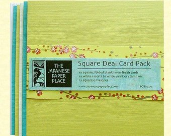 Sale! Japanese Cards - Square Deal 10 Card Pack Spring - Japanese Paper Place