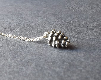 Small Pinecone Necklace Solid Sterling Silver Tiny Layered Pendant Simple Nature Jewelry Womens Gift for her, Wife girlfriend sister gift