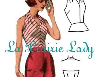 Repro Vintage Pattern Halter Top 50s No 5 Repro on Printable PDF Size B34