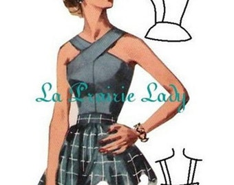 Repro Vintage Pattern Halter Top 50s No 6 Repro on Printable PDF Size B34