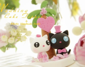 cat wedding cake topper,  kitty Wedding Cake Topper---k866