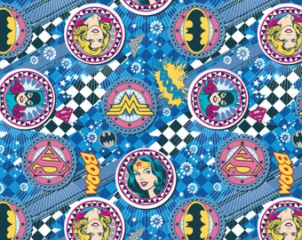 Girl Power Wonder Woman Super Girl and Batgirl Blue Badge Fabric In stock and ready to be shipped