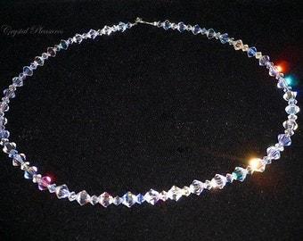 """18"""" Gorgeous Swarovski Crystal Clear AB Aurora Borealis SS .925 Necklace"""