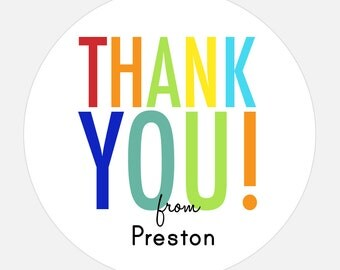 Thank you stickers, Personalized Thank you, Birthday Stickers, Rainbow, gift tags, girl, boy, Fun, Modern, Large, Colorful Type