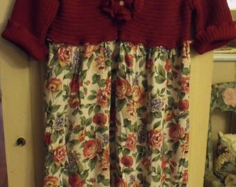 Upstyled Sweater With Floral Vintage Rayon Skirt/Funky Flower