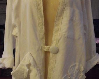 Spring Jacket/Altered Shirt/Cotton/Embellished/Plus Size