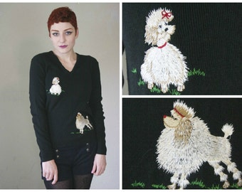 60s Poodle Sweater / Black Cute Kawaii Embroidered Dog Jumper / Size S/M Small Medium