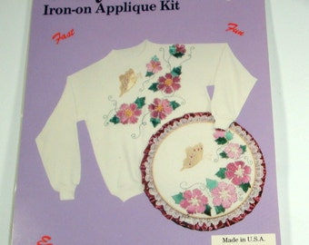 Glizy Shirts Iron On Applique Kit, Embellishment, Butterfly S77105 Fabric Decoration, Crafts, Butterfly, Flowers, Die Cuts, NOS