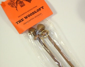 4 Inch Bell Pull Dowls With Gold Cord, Decorative Wood Craft Kit, NOS  (75-15)