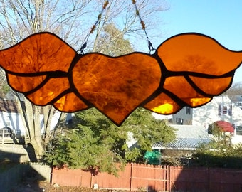 Enchanting Winged Heart  Stained glass Light Sun Catcher Brilliant Orange with beaded chain