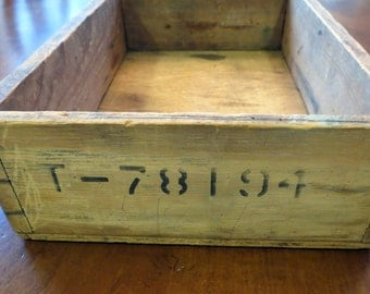 Vintage Wood Box Stenciled Numbers Shelf