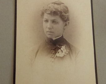 Antique Cabinet Card Portrait  Lady with Flowers CC263