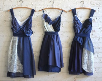 Custom Navy Blue Bridesmaids Dresses