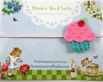 Pink Turquiose Cupcake Headband-Skinny Elastic Headband-Hand Sewn Headband-felt headband-baby headband