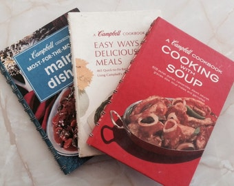 1970s Campbell Cooking With Soup Set of Three Cookbooks