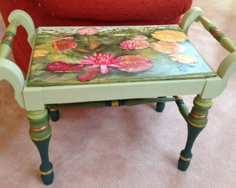 Lily Pond Painted Vintage Bench