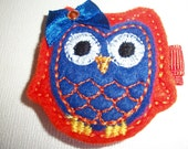 Boutique Embroidered Felt Orange and Blue  Owl Hair Clippie (Item 14-220)