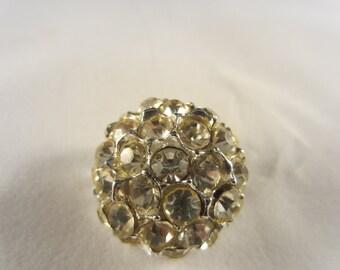 Vintage Button - 1 beautiful, 1 inch flower design, rhinestone embellished antique silver metal, (rhine 4)