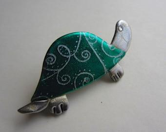 Little green turtle pin brooch