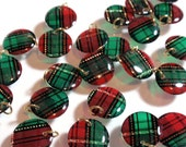 Handmade Acrylic Lentil Charms Red Green Gold Plaid Tartan Highlander Large Lentil Charms Geometric Dangles Pendants RTS or Custom OrderA3
